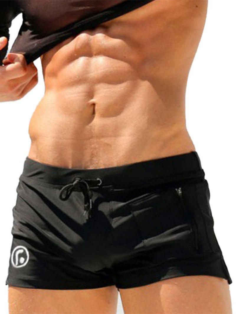 Image of Lace Up Zip Up Pocket Stretchy Swimming Trunks