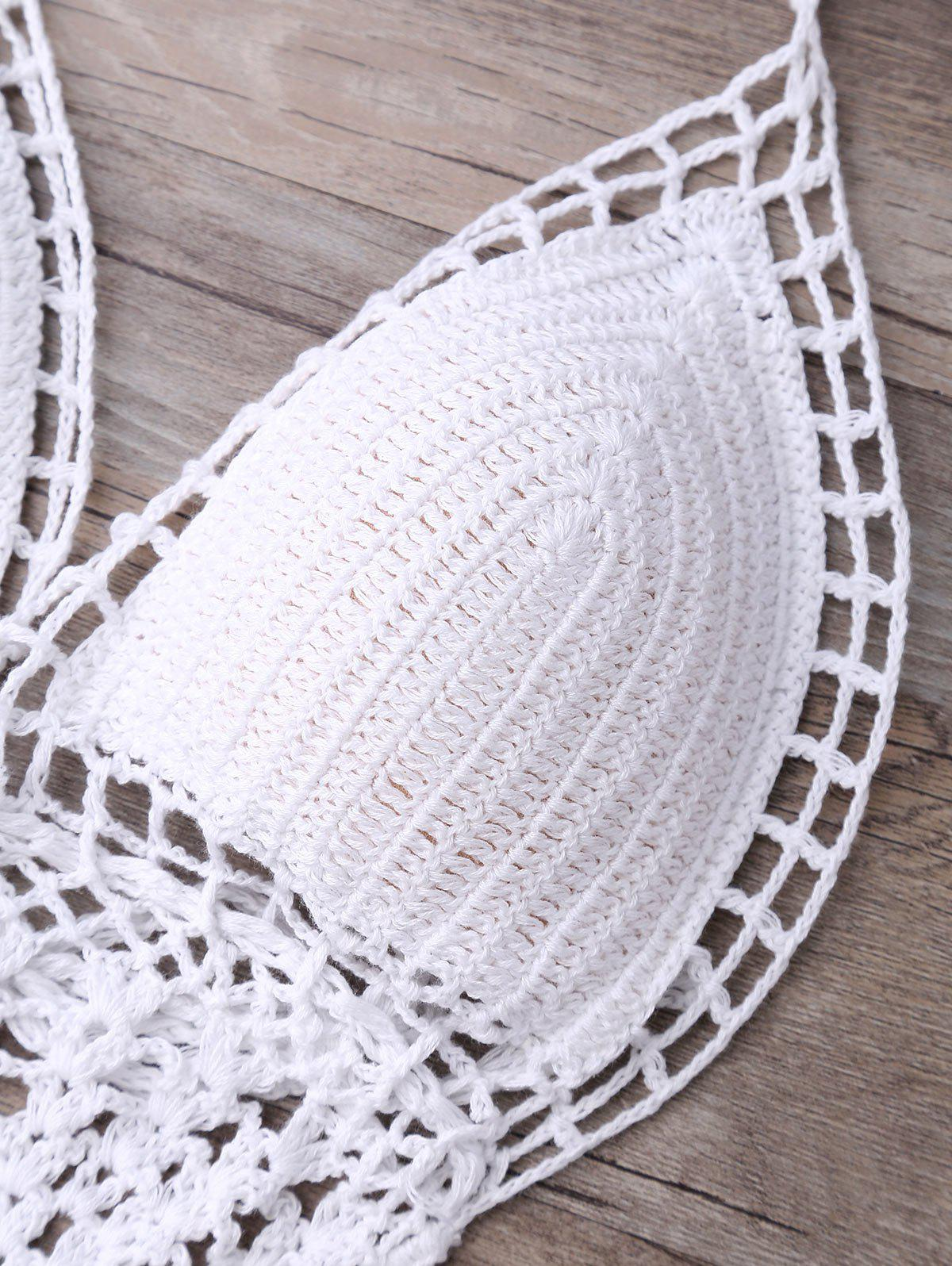 Alluring Halter Solid Color Hollow Out One-Piece Knitted Women's Swimwear - WHITE S
