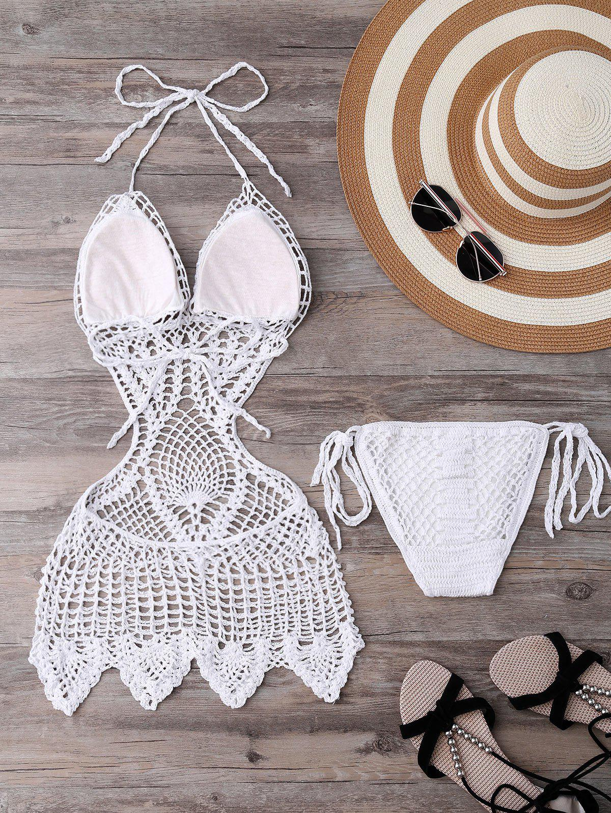 Alluring Halter Solid Color Hollow Out One-Piece Knitted Women's Swimwear - WHITE L