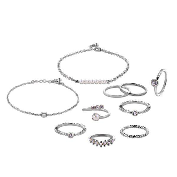 Faux Pearl Circle Bracelets and Rings - Argent