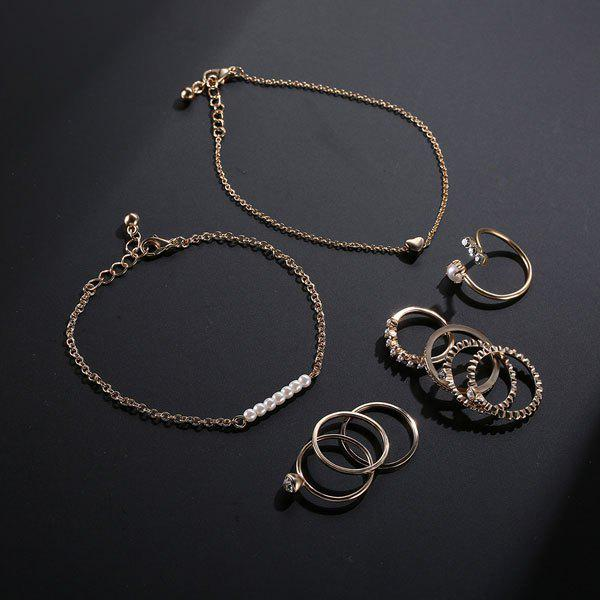 Faux Pearl Circle Bracelets and Rings - Or