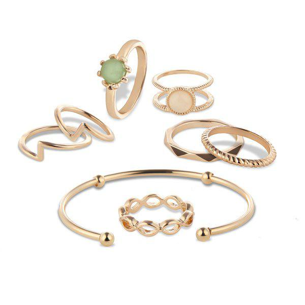 Faux Gem Circle Bracelet and Rings - GOLDEN