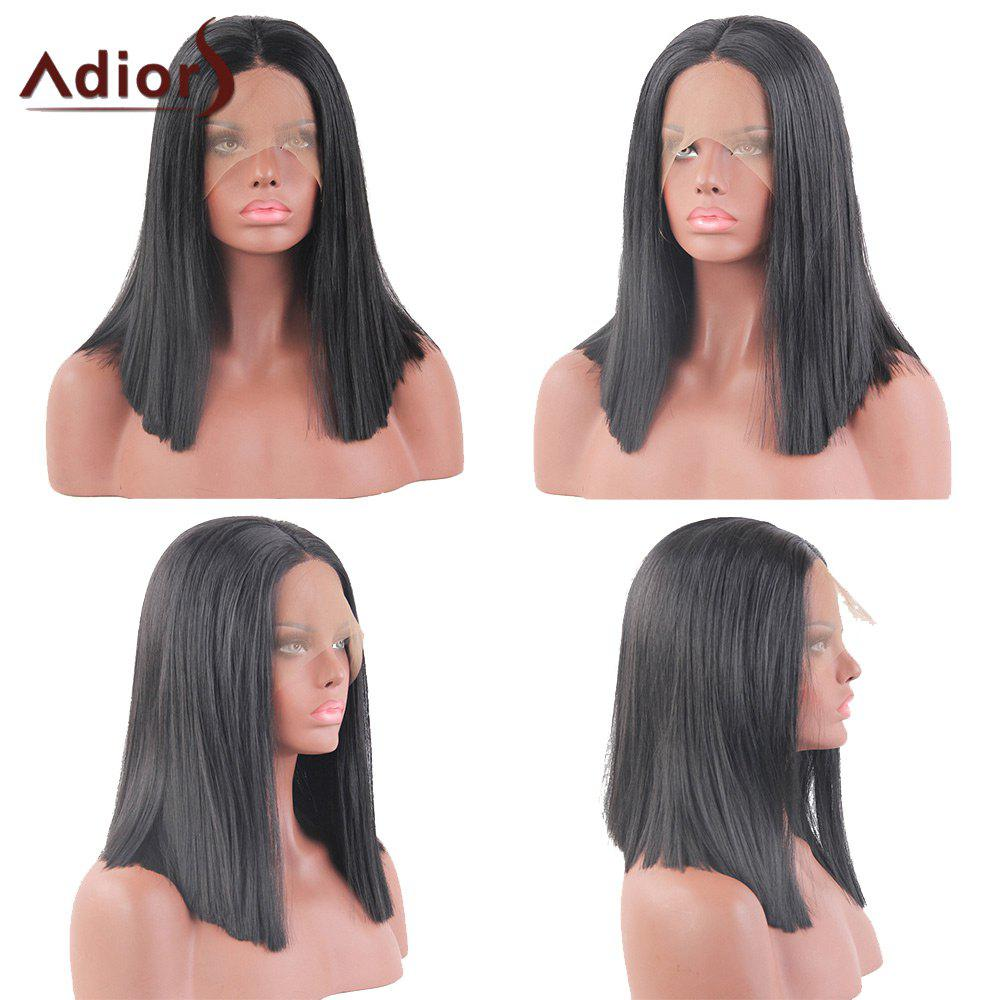 Adiors Medium Centre Part Straight Bob Lace Front Synthetic Wig tsnomore black to blue synthetic lace front bob wig