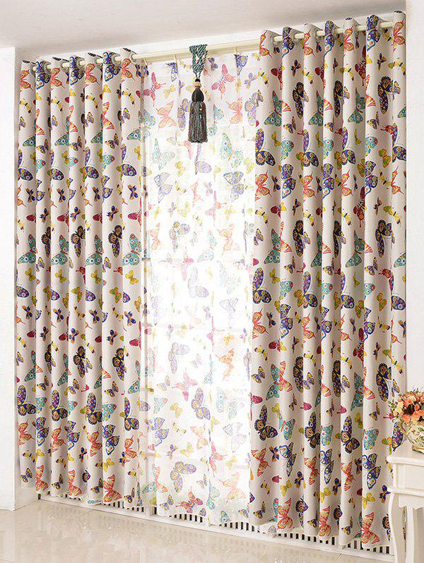 Window Screens Butterfly Print Blackout Curtain(Without Tulle) - COLORMIX W42INCH*L63INCH