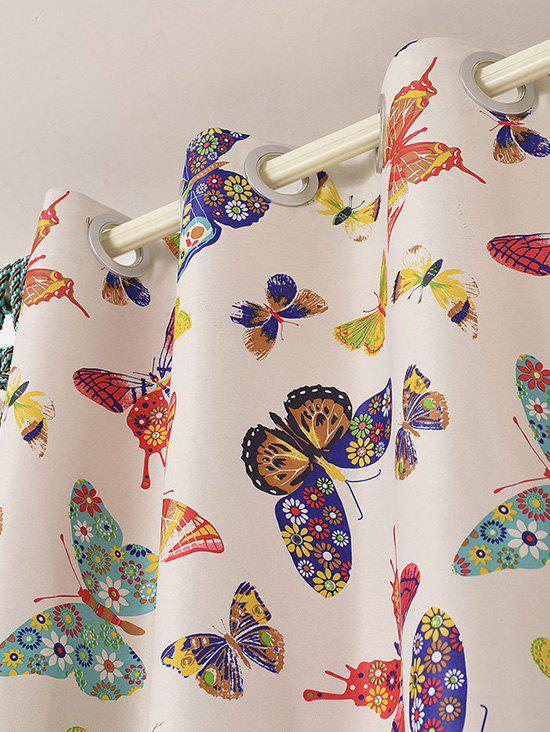 Window Screens Butterfly Print Blackout Curtain(Without Tulle) - COLORMIX W54INCH*L95INCH