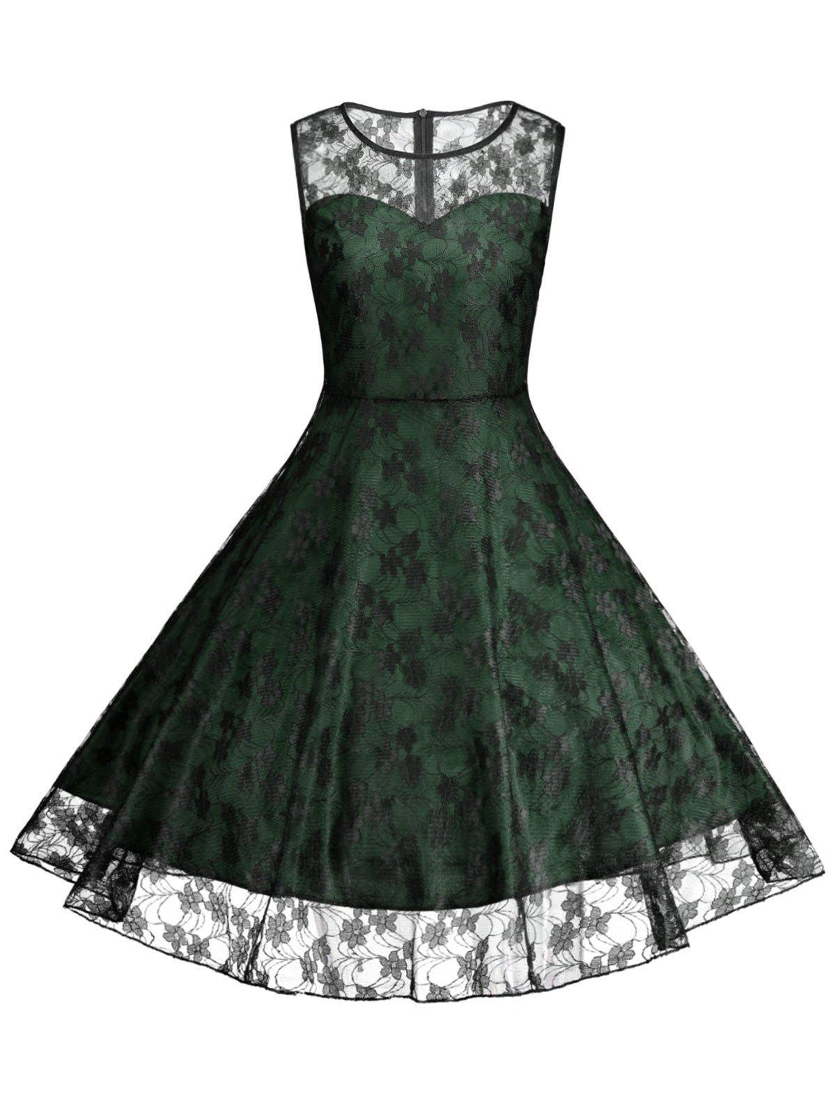 Floral Vinatge Lace Plus Size Dress - GREEN 4XL