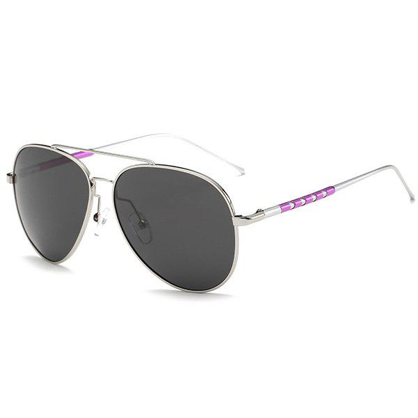 UV Protection Mirror Polarized Sunglasses - SILVER FRAME/GREY LENS