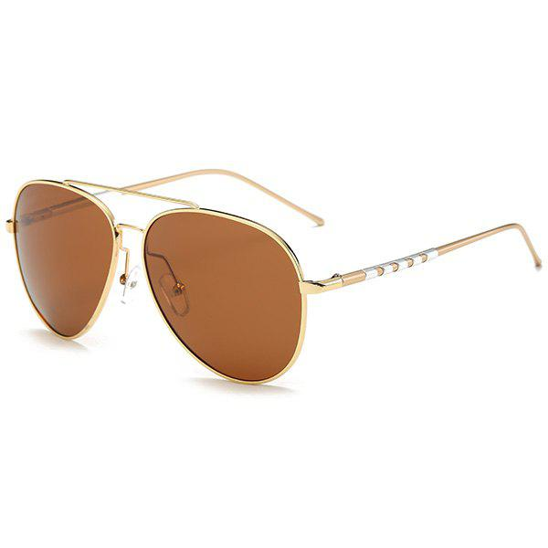 UV Protection Mirror Polarized Sunglasses - GOLD FRAME/DRAK BROWN