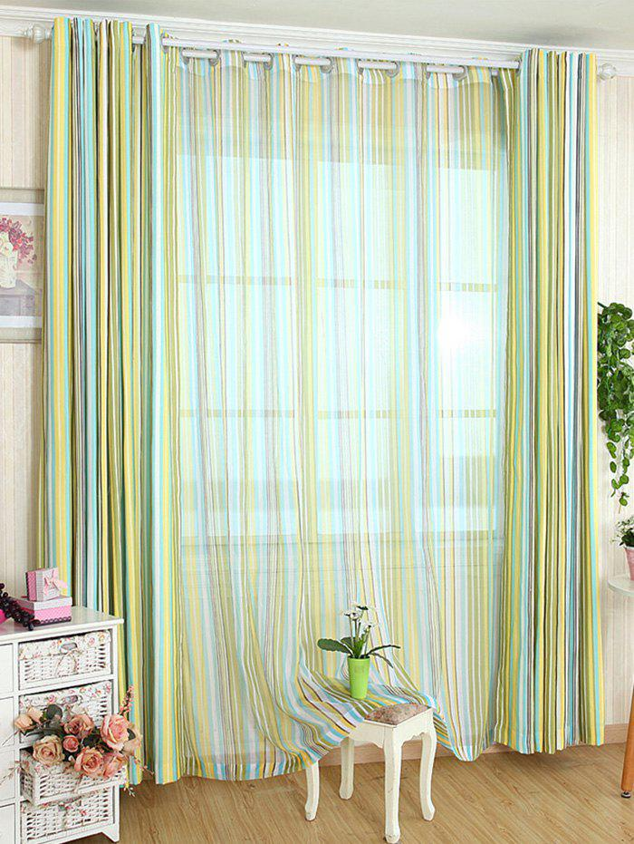 Window Decor Stripe Blackout Curtain Without Tulle