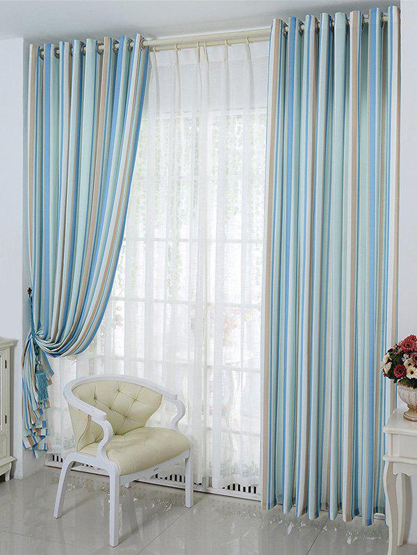 Window Decor Stripe Blackout Curtain(Without Tulle) - ICE BLUE W54INCH*L84INCH