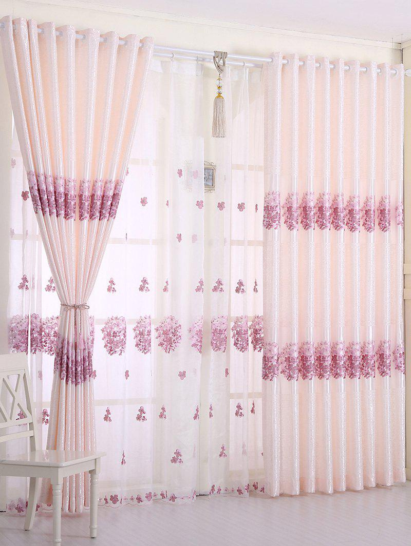 1PCS Hydrangea Print Blackout Curtain Window Screen(Without Tulle) - PINK W54INCH*L108INCH