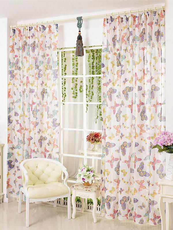 Butterfly Sheer Tulle Curtain Door Window Screen - COLORMIX W42INCH*L84INCH
