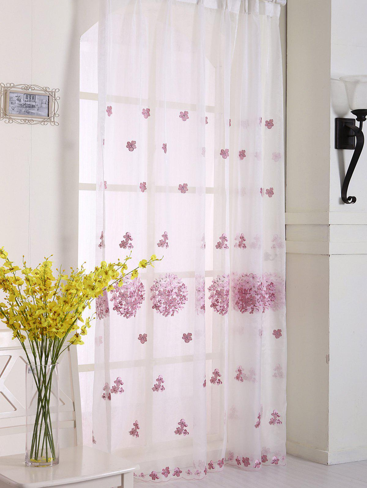 Hydrangea Print Sheer Voile Curtain Window Decor - ROSE PÂLE W42INCH*L63INCH