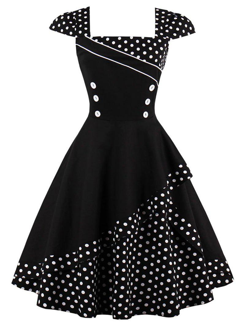 Buttoned Polka Dot Vintage Corset Dress - BLACK 2XL