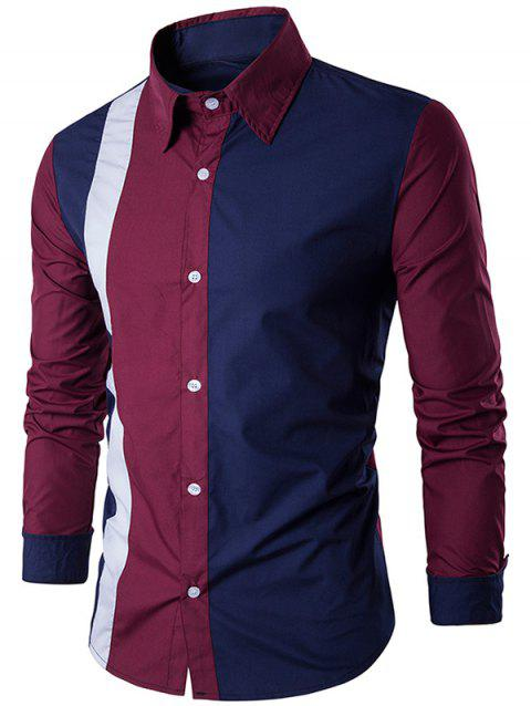 Color Block Long Sleeve Panel Shirt - WINE RED L