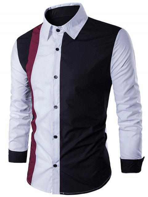Color Block Long Sleeve Panel Shirt - WHITE L