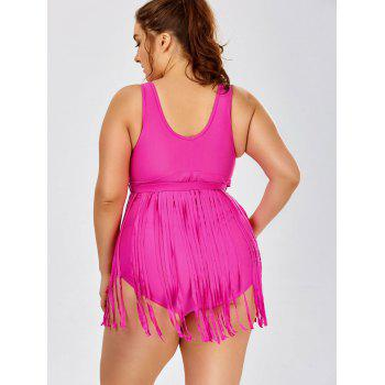 Solid Color Tassels  One-Piece Swimsuit - ROSE ROSE