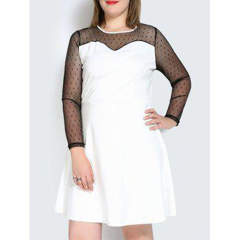Plus Size Mesh Panel Long Sleeve A Line Dress