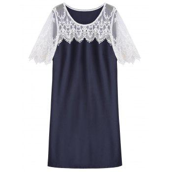 Plus Size Lace Trim Shift Dress - PURPLISH BLUE 4XL