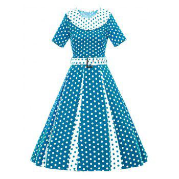 Contrast Polka Dot Flare Dress With Belt