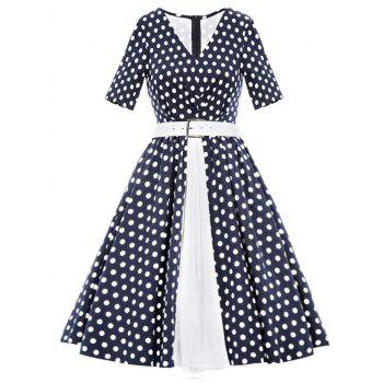 Vintage Polka Dot Flare Belted Dress
