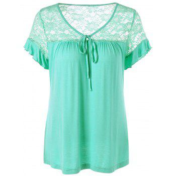 Flounced Sleeve Tie Front Lace Trim T-Shirt