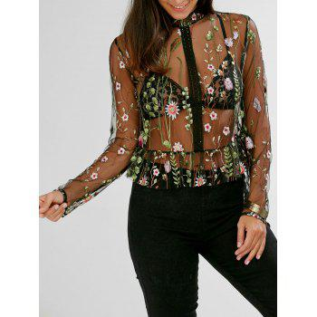 Semi Sheer Floral Embroidered Peplum Mesh Blouse