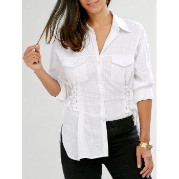 Lace Up Single Breasted Shirt