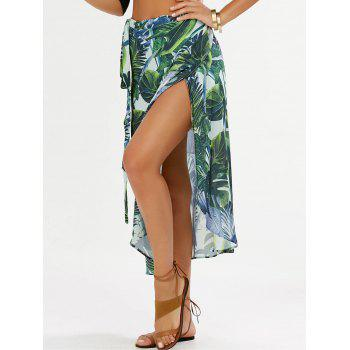 Leaf Print Chiffon Wrap Skirt