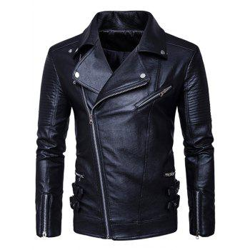 Side Zip Up Faux Leather Biker Jacket