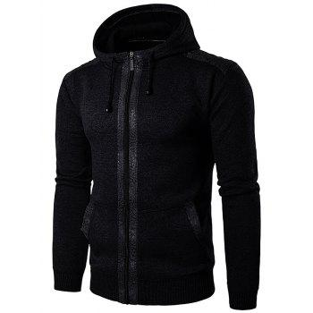 Suede Panel Zip Up Knitted Hoodie