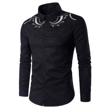 Abstract Embroidered Long Sleeve Shirt