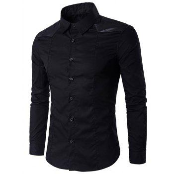 Long Sleeve Faux Leather Insert Shirt