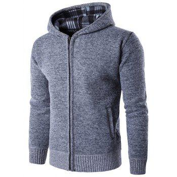 Zipper Up Textured Hoodie