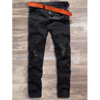 PU Leather Spliced Destroyed Zipper Jeans