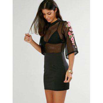 Floral Embroidered Sheer Dress With Sleeves - BLACK BLACK
