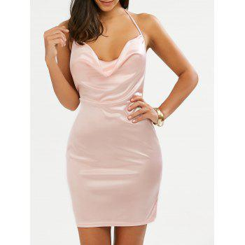 Open Back Halter Mini Bodycon Dress