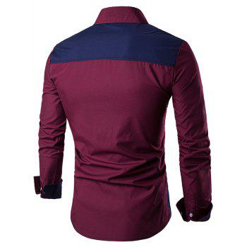 Color Block Long Sleeve Panel Shirt - WINE RED 3XL