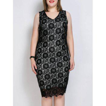 Plus Size V Neck Scalloped Tank Lace Party Dress