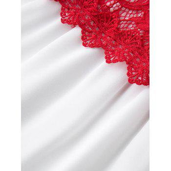 Knee Length Lace Trim Plus Size Dress - RED 5XL