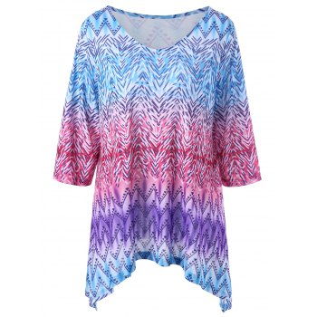 Zigzag Asymmetrical Plus Size T-Shirt