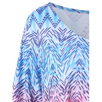 Zigzag Asymmetrical Plus Size T-Shirt - multicolorcolore XL