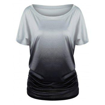 Plus Size Ombre Shirred Side T-Shirt
