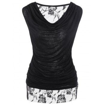 Lace Trim Ruched Cowl Neck T-Shirt