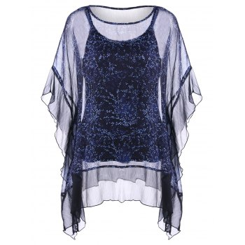 Plus Size Sheer Ruffle Dolman Sleeve Blouse With Camisole Top