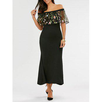 Buy Shoulder Flounce Embroidered Mermaid Maxi Dress BLACK