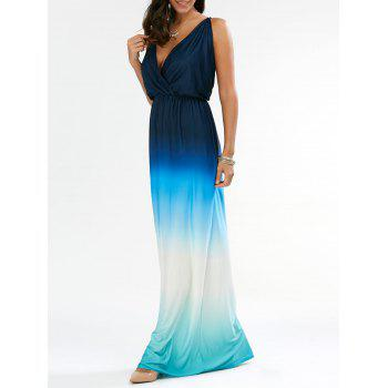 Sleeveless Plunge Backless Ombre Maxi Dress