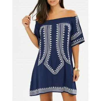 Off The Shoulder Embroidered Sexy Boho Mini Shift Dress
