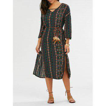 Bohemian Tribal Print Split Dress