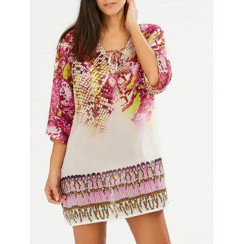 V Neck Snakeskin Print Chiffon Shift Dress